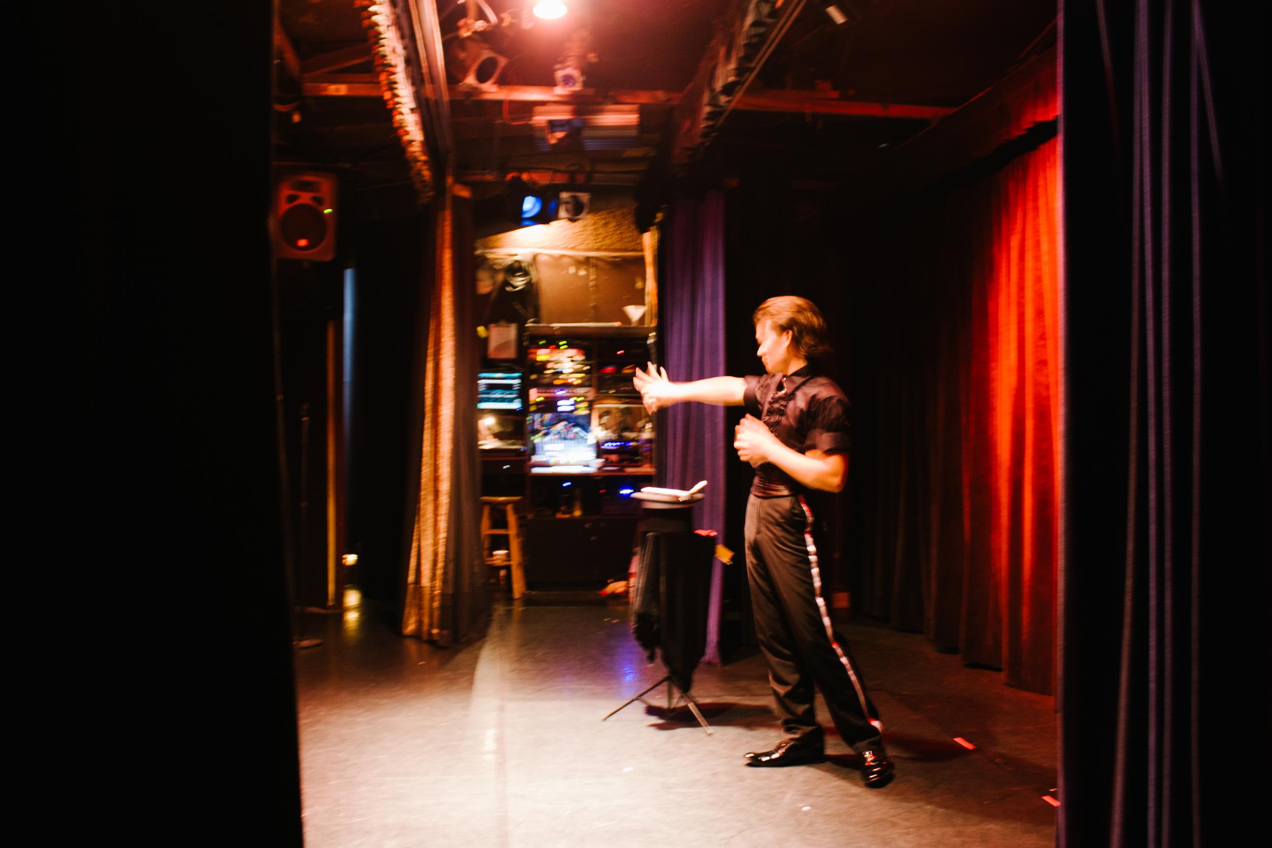 Hyuma Miyahara backstage at the Magic Castle. Photo by Barak Wright.