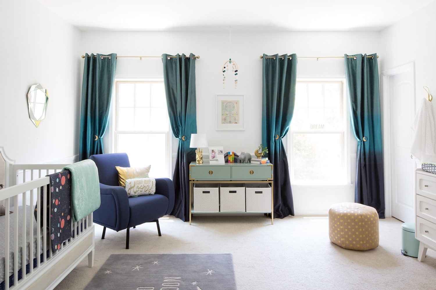 blue and teal nursery for a baby girl