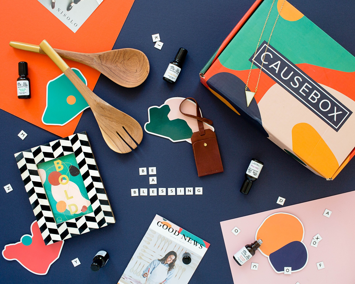 Flat lay image by Kimberly Murray of Fall CAUSEBOX featuring socially conscious companies.