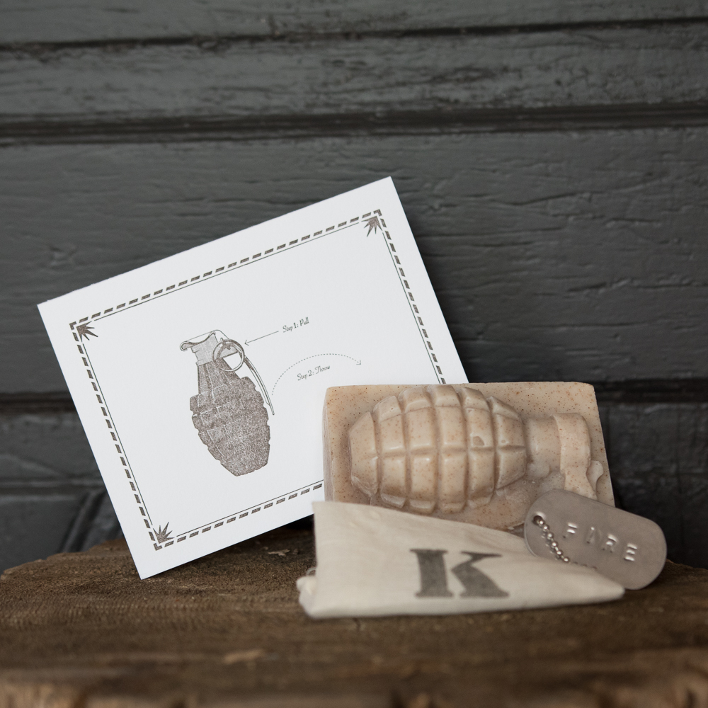 TPH grenade note card and k bar soap co.