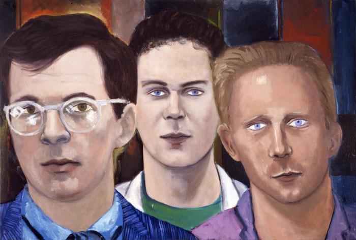 """Three Poets (Tim Dlugos, Dennis Cooper, Donald Britton)  oil on canvas, 48x72"""", 1983"""