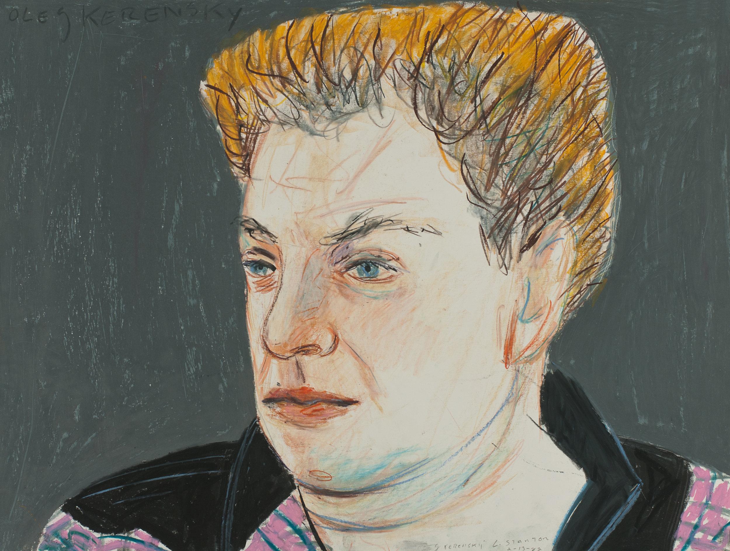"Larry Stanton  Crayon on Paper, 18"" H X 24""  Sig ""L. Stanton""  Oleg Kerensky 2/13/1982  $1,200"