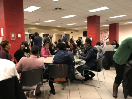 Students and their families gather to discuss benefits of HBCUs