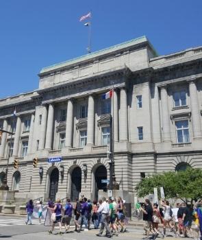 Rainbow Flag flying atop Cleveland City Hall