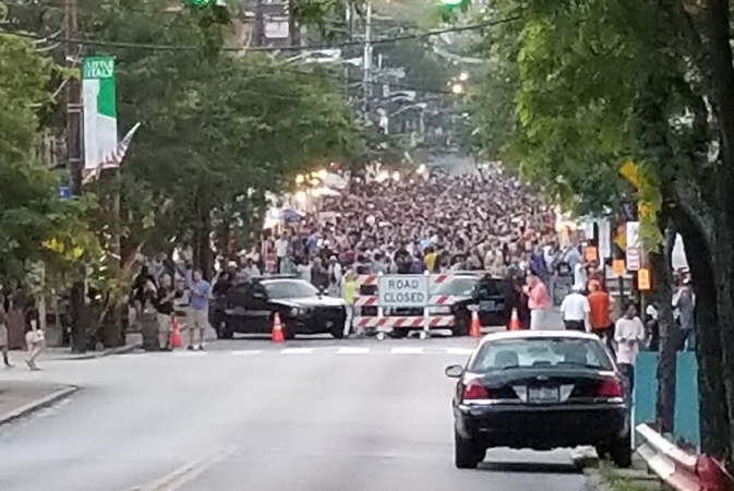 The crowd as I walked down Mayfield