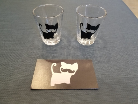 Our shot glasses and punchcard