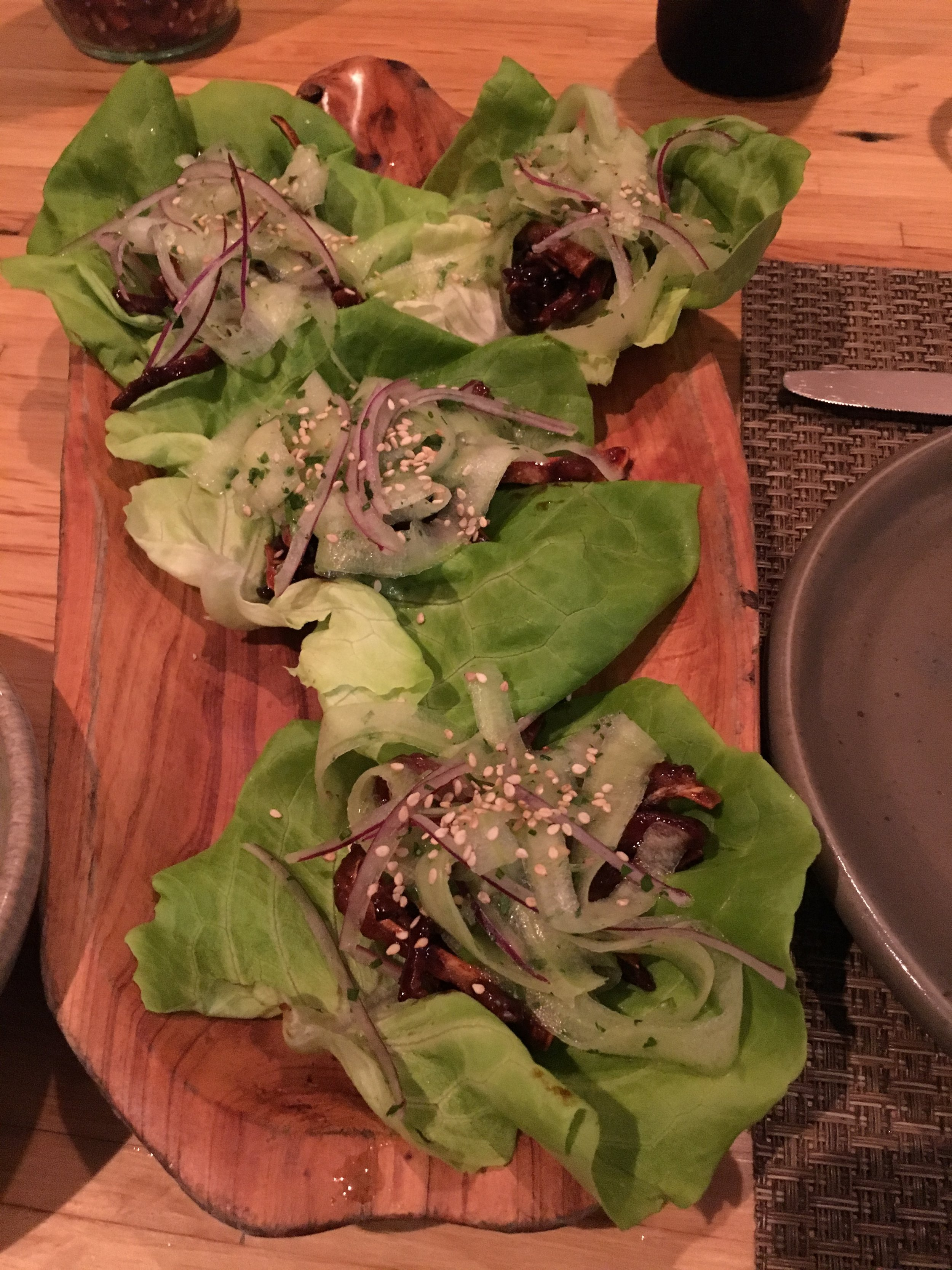 Crunchy, salty pig ear lettuce wraps. By far the most interesting dish I ate this trip.
