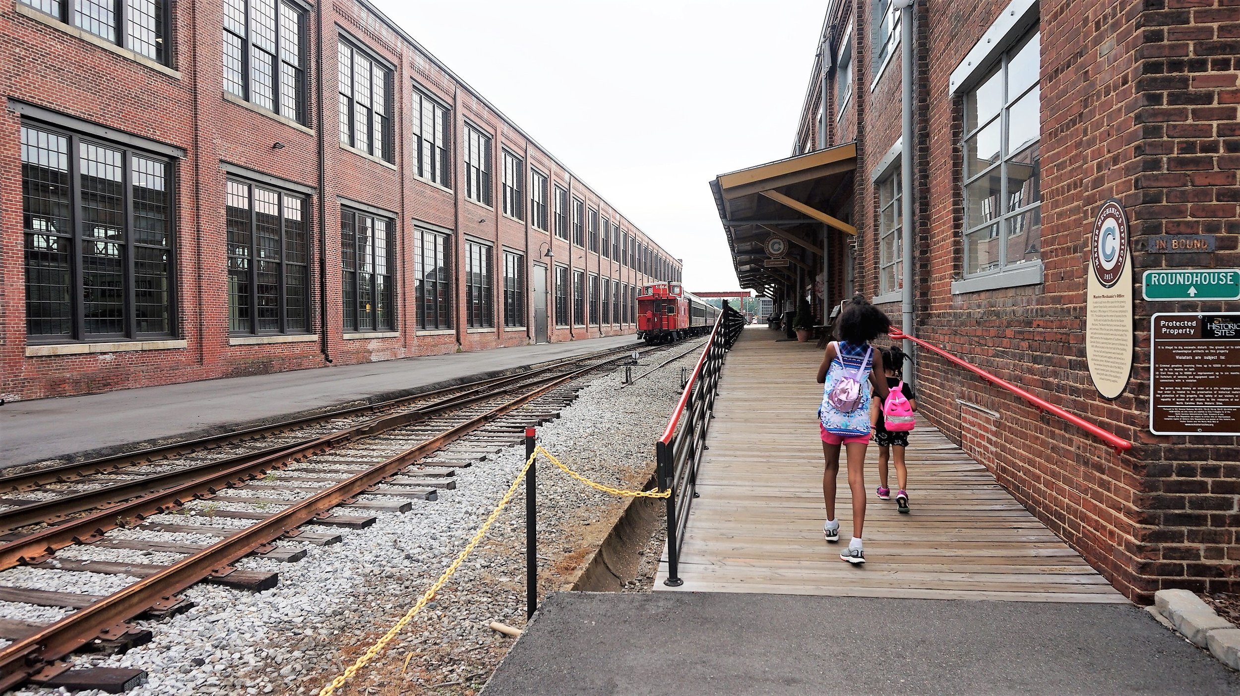 Boarding Trains at the NC Transportation museum -
