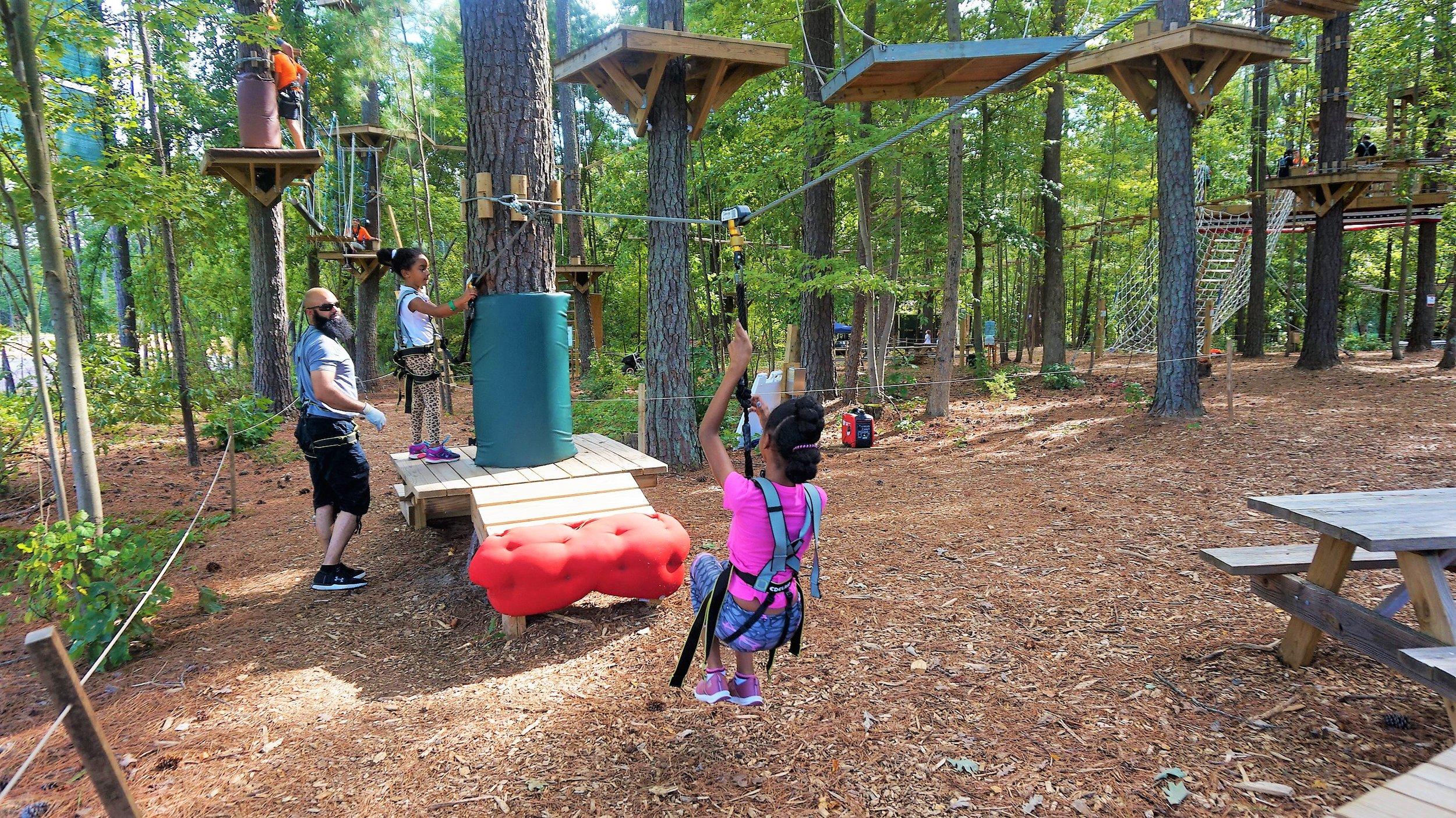 2 Peanut Butter Girls at TreeRunner Adventure Park.