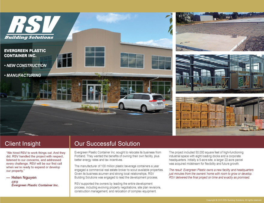 Evergreen Plastic Container Inc - New Construction, Manufacturing