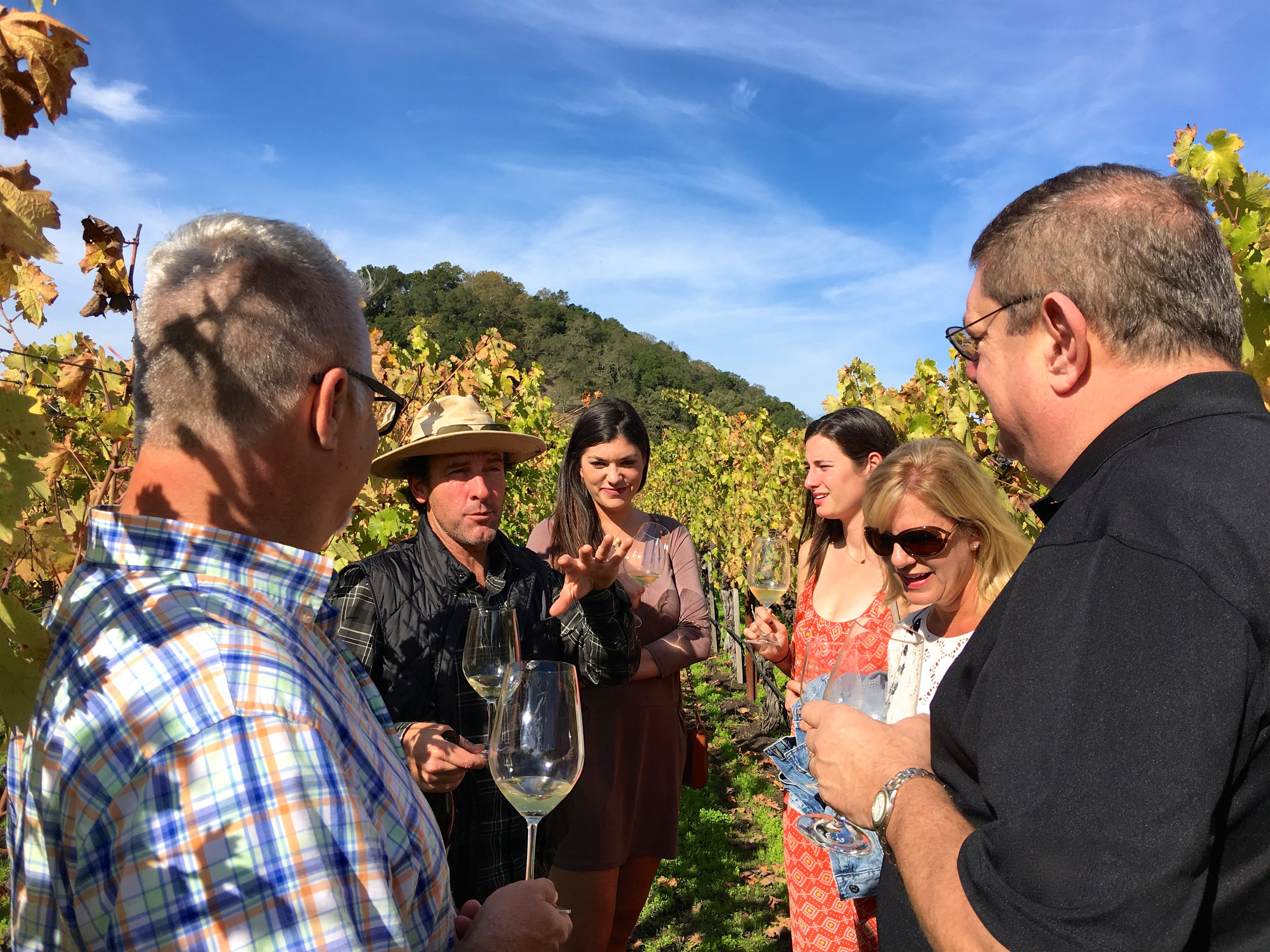 Ted Osborne, winemaker and owner of Olabisi wines, giving an in-vineyard tour  (  Photo: Mike Casey, The 29 Napa  )