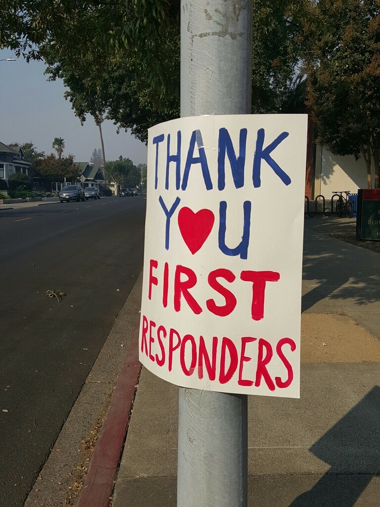 One of many shows of support around town which has been tremendous ( Photo: Brent Pennington,The 29 Napa )