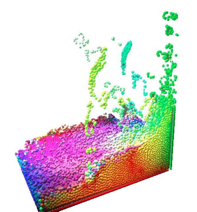 simulation colored by velocity vector