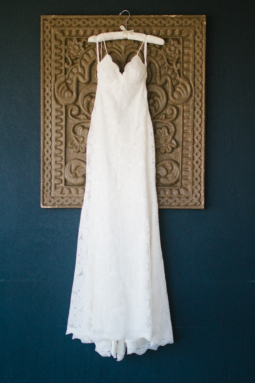 Punta Cana destination wedding, bride's gown hanging for display