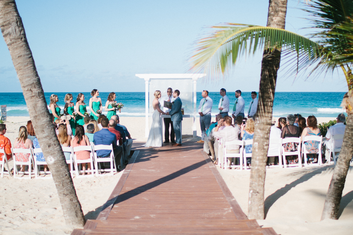 Punta Cana destination wedding, beach front wedding ceremony at sunset