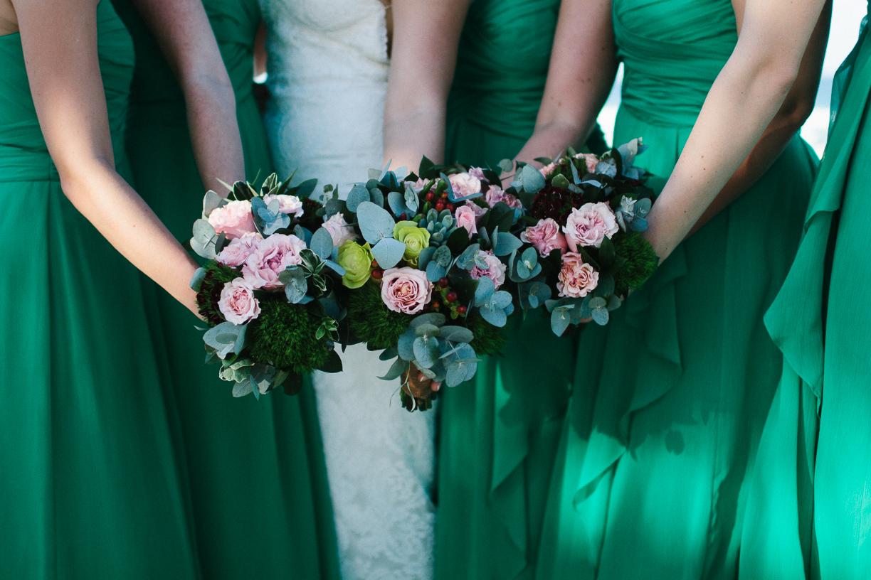 Punta Cana destination wedding, beach front wedding ceremony at sunset, bridesmaids bouquets