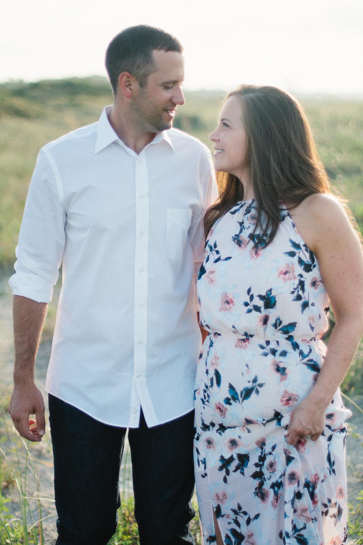 Engaged couple smiling at Kiawah Island Beach Resort, Kiawah Island South Carolina by Danielle Gallo Photography