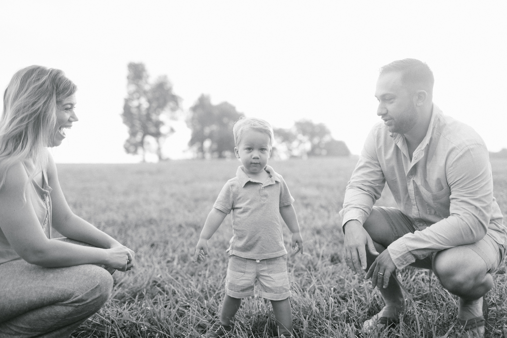 Young family in North Carolina field