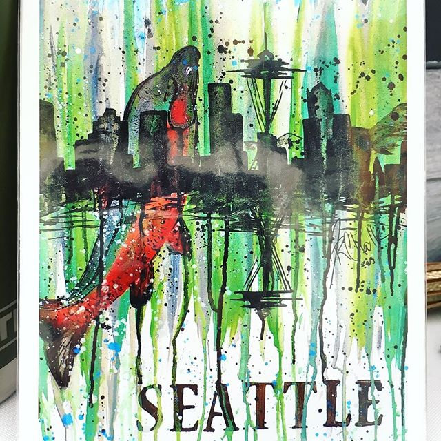Last day @salmondaysfest we are here till 6pm! See you soon! 😉👍 #issaquahsalmondays #salmondaysfestival #salmondays #salmondays2018 #art #seattleartist #pnw #artfestival #pnwartist #jreneart #salmon #seattlesalmon