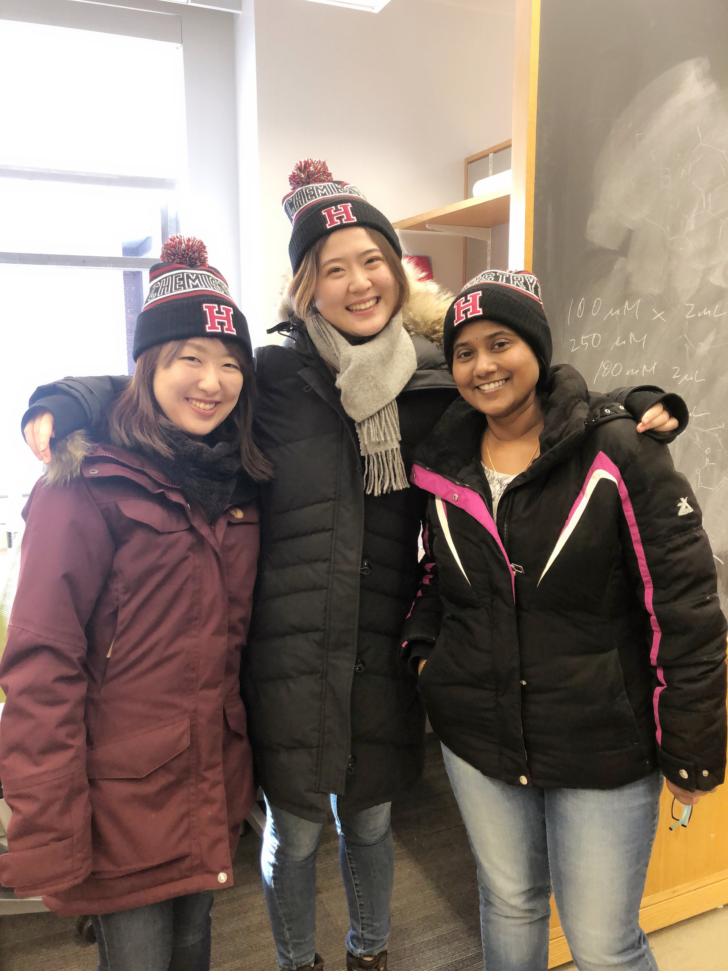 Group girls with our new Harvard beanies!