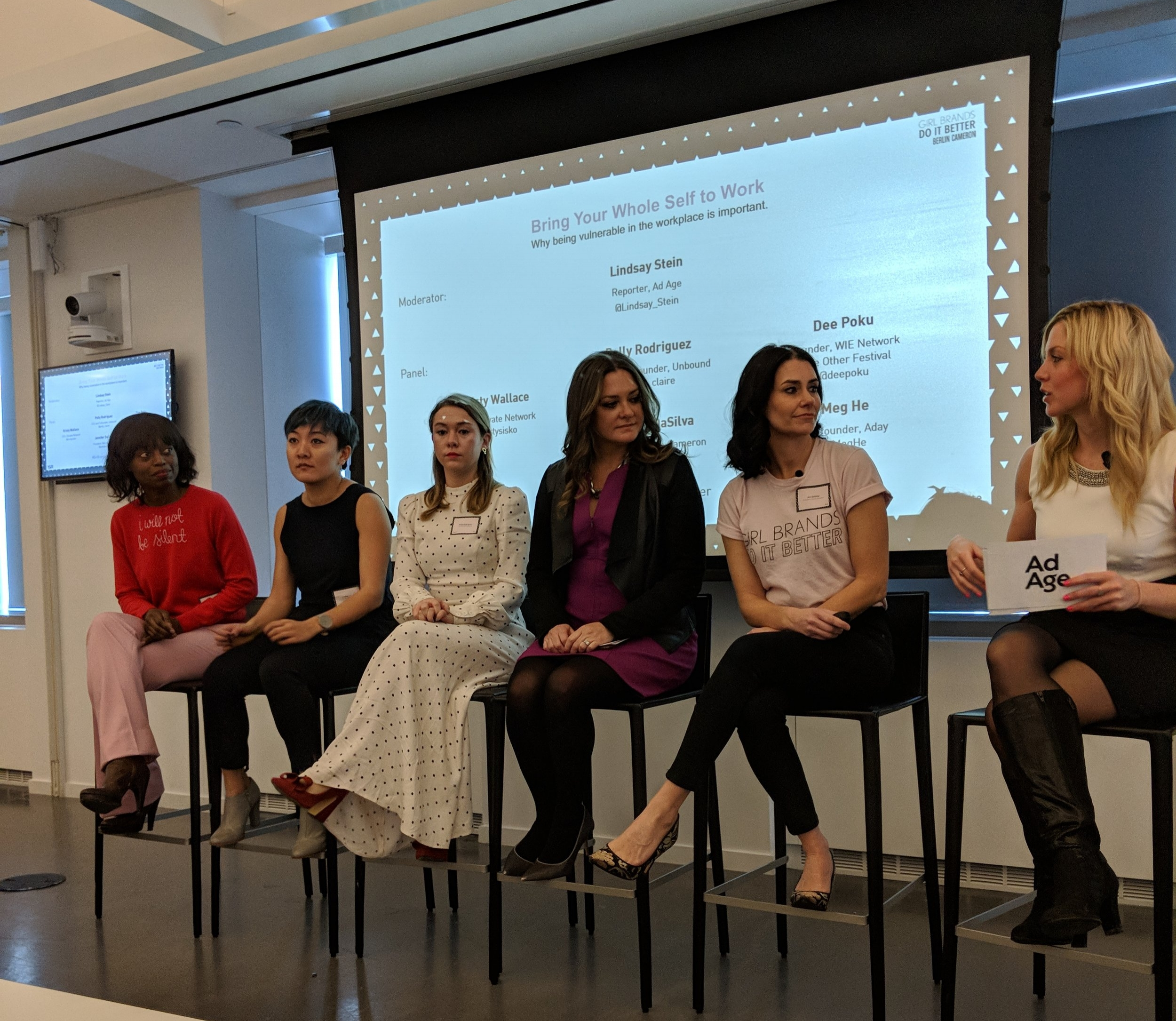 At Berlin Cameron's Girl Brands Do It Better. L to R. Dee Poku, Meg He, Polly Rodriguez, Kristy Wallace, Jennifer DaSilva, Lindsay Stein