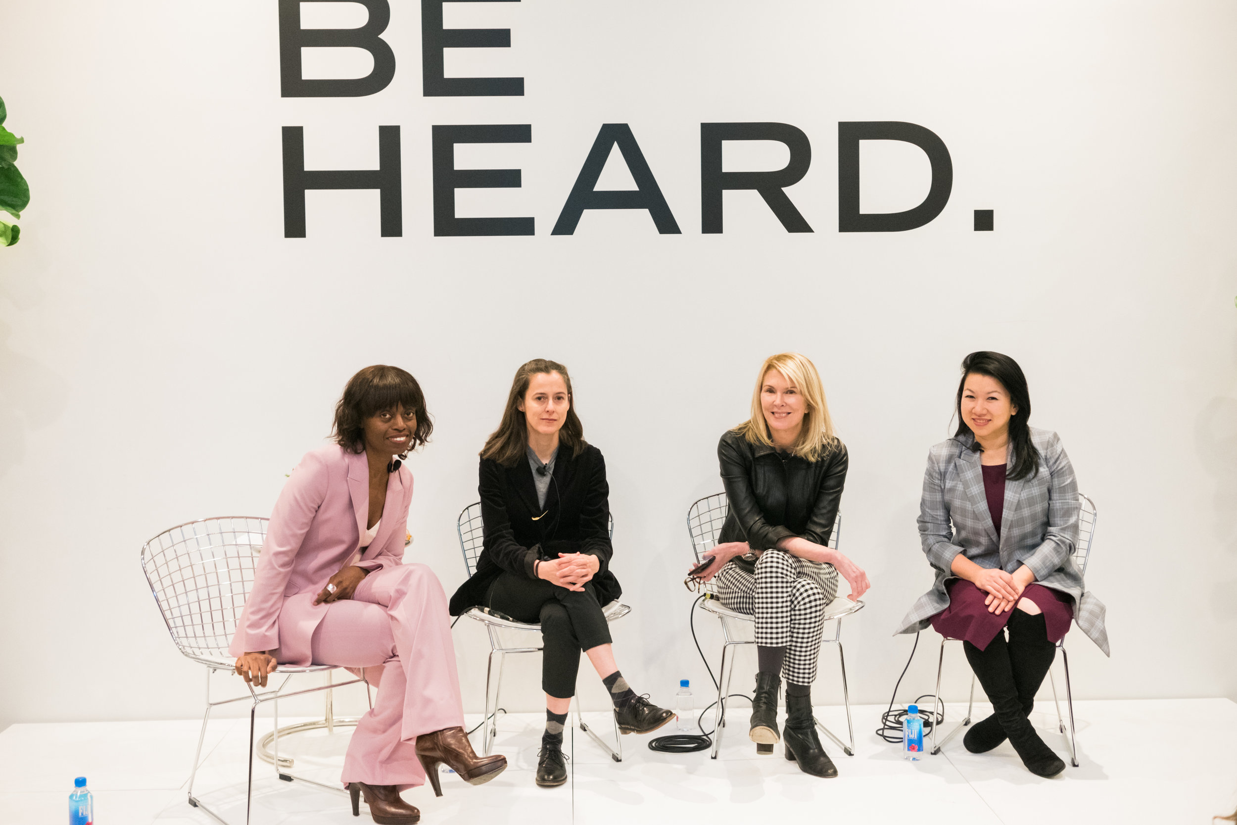 At Theory's Be Heard event. L to R. Dee Poku, Amanda Hesser, Susan Lyne, Shan-Lyn Ma