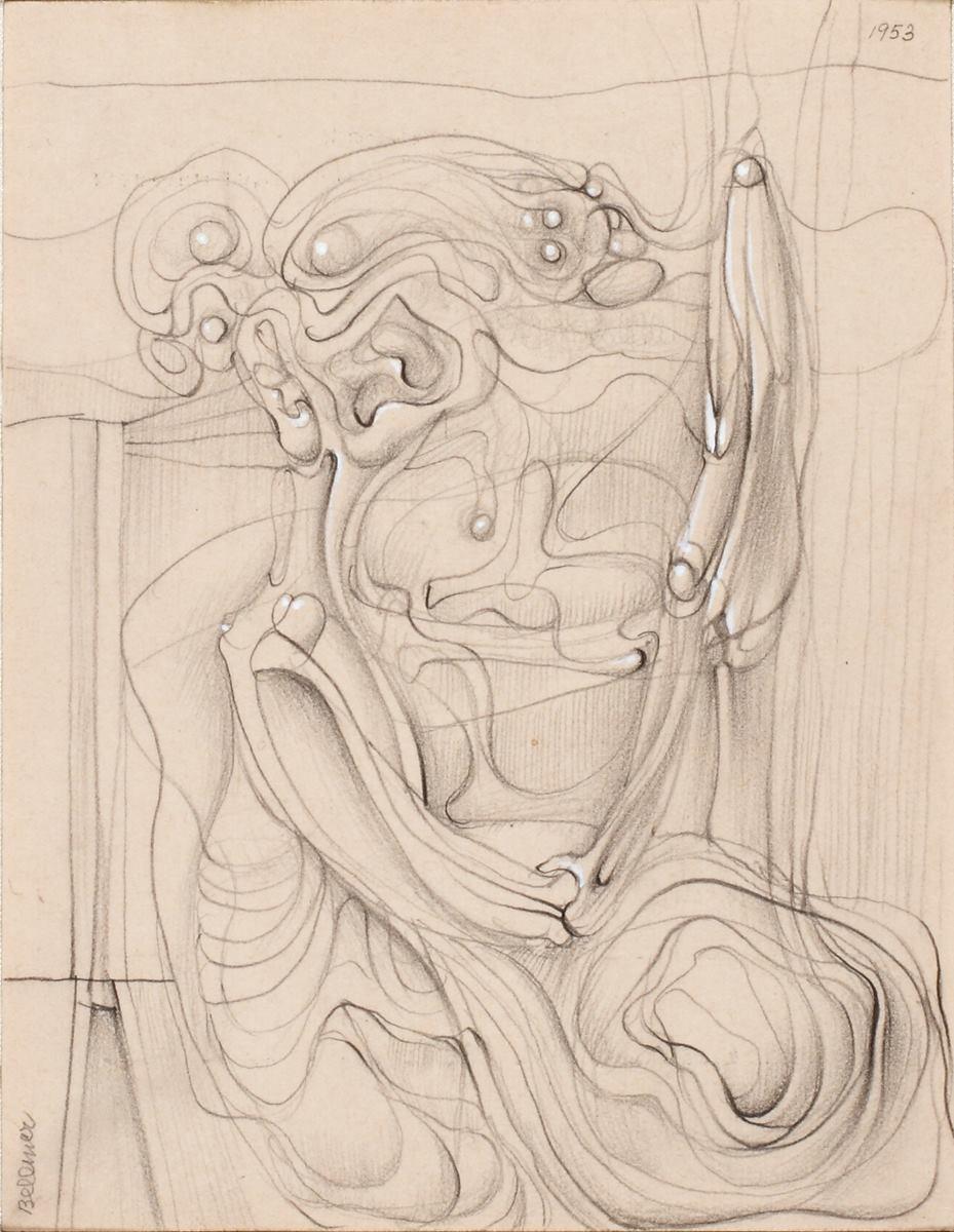 "Hans Bellmer, Untitled (""Reversible Drawing""), 1953"
