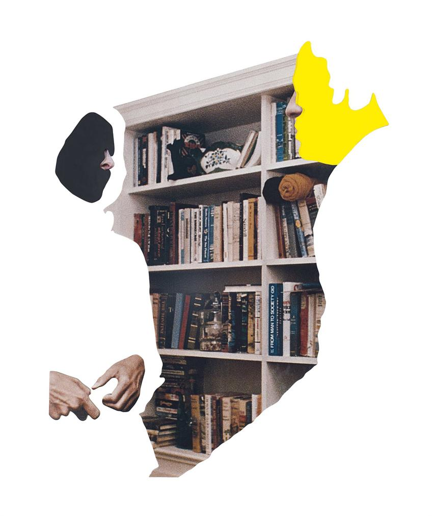John Baldessari, Noses & Ears, Etc. (Part Three): (Black) Face And (Yellow) Face With Noses, Hands, And Bookcase, 2006