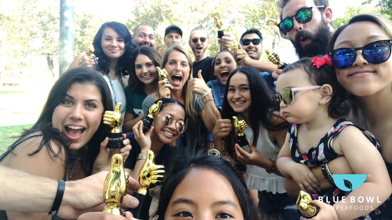 """We hosted a """"Bluebie Awards"""" for our employees! BBQ at the park with some good food & grub, best Sunday fun day with our Blue Bowl Super Team!"""