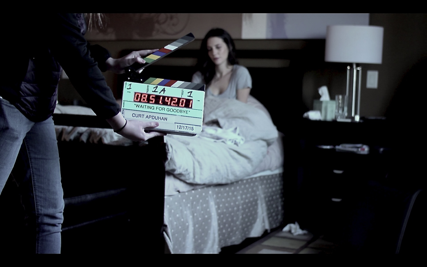 First shot of WAITING FOR GOODBYE with 2nd AC Emma Thomasson on slate and Emily Somers in background (Beau is hiding behind the slate)