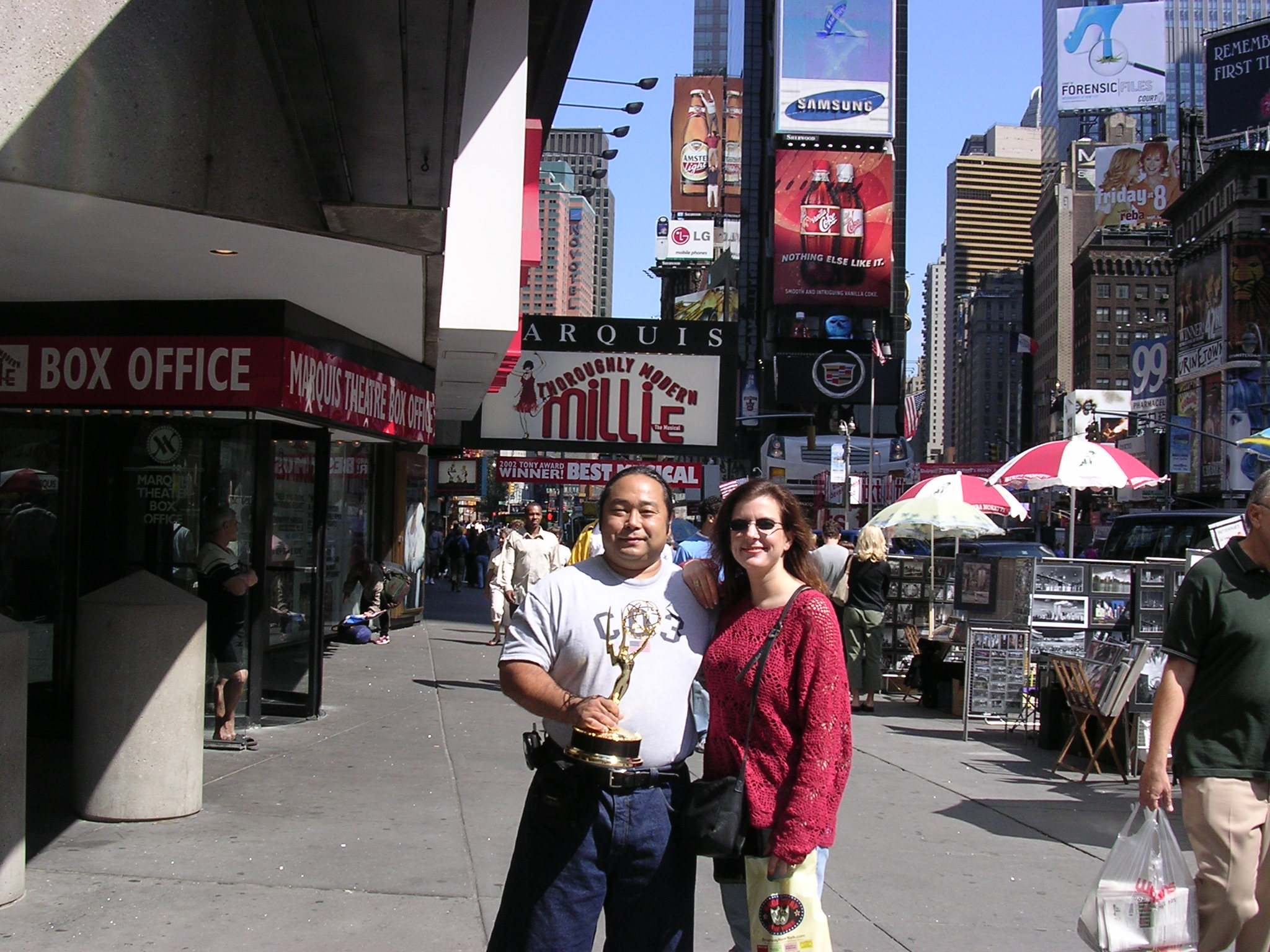 Wrapping up our time in New York, Mary and I took one last photo in front of the Marriott Marquis and called our driver to take us to the airport. Mary headed back to Scottsdale and I jumped on a Jet Blue flight back to Long Beach. When I was going through the TSA checkpoint the officer scanning the carry on luggage stopped and asked who won the Emmy. I identified myself and a loud cheer erupted from the security que. Unfortunately no photos are allowed to be taken at TSA checkpoints but I can assure you Emmy got a lot of attention and a very nice NYC send off.