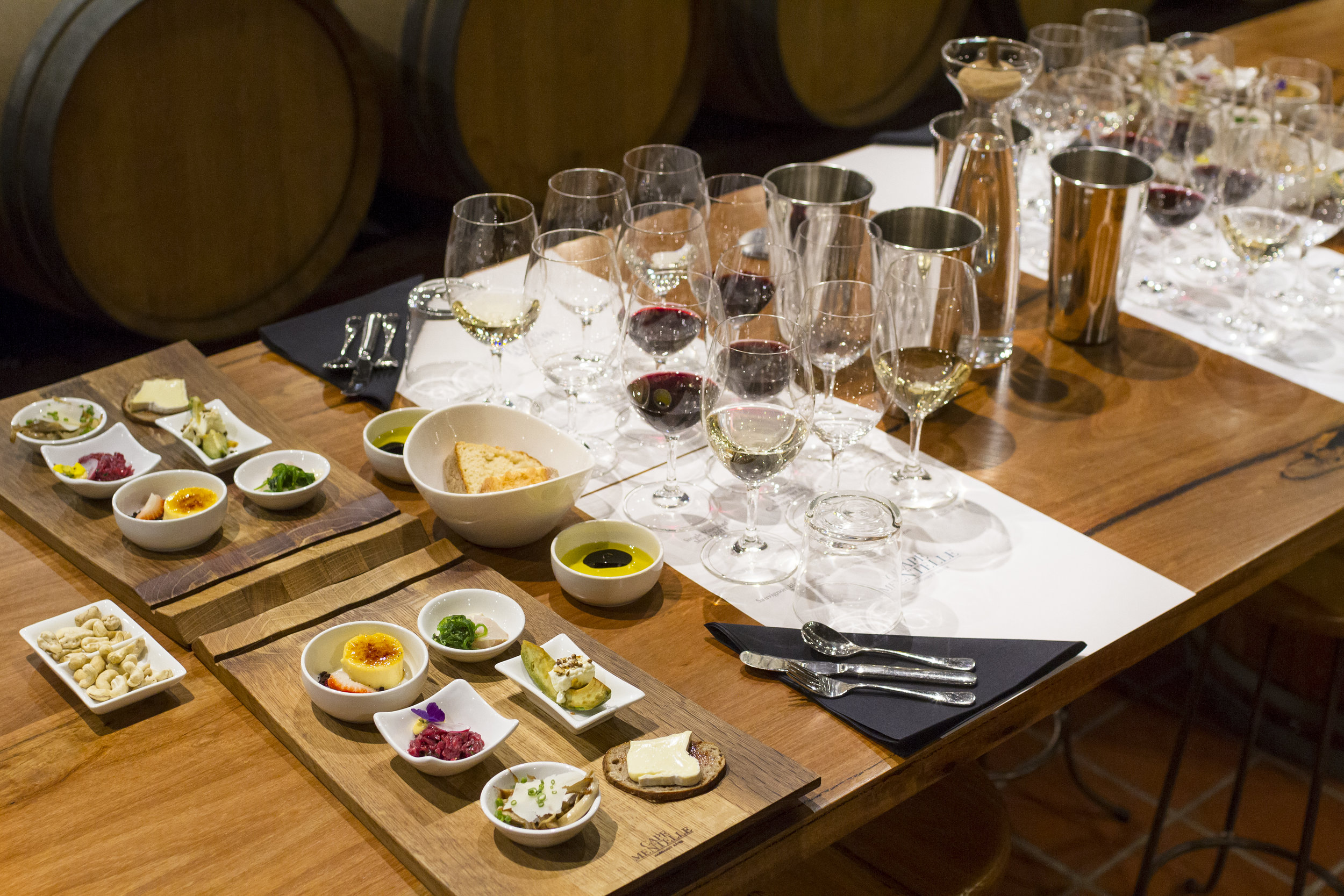 An image showing the table setting for a Cape Mentelle wine & food paired degustation experience!