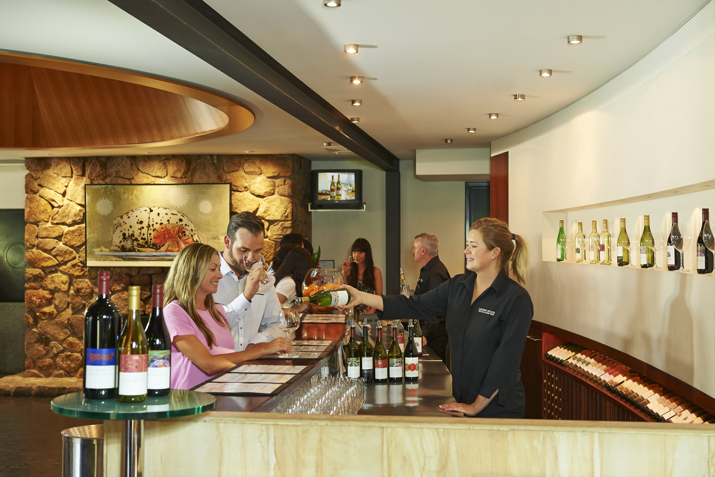 Leeuwin Estate's cellar door is a combination of native wood and stone and adjoins their five start restaurant.