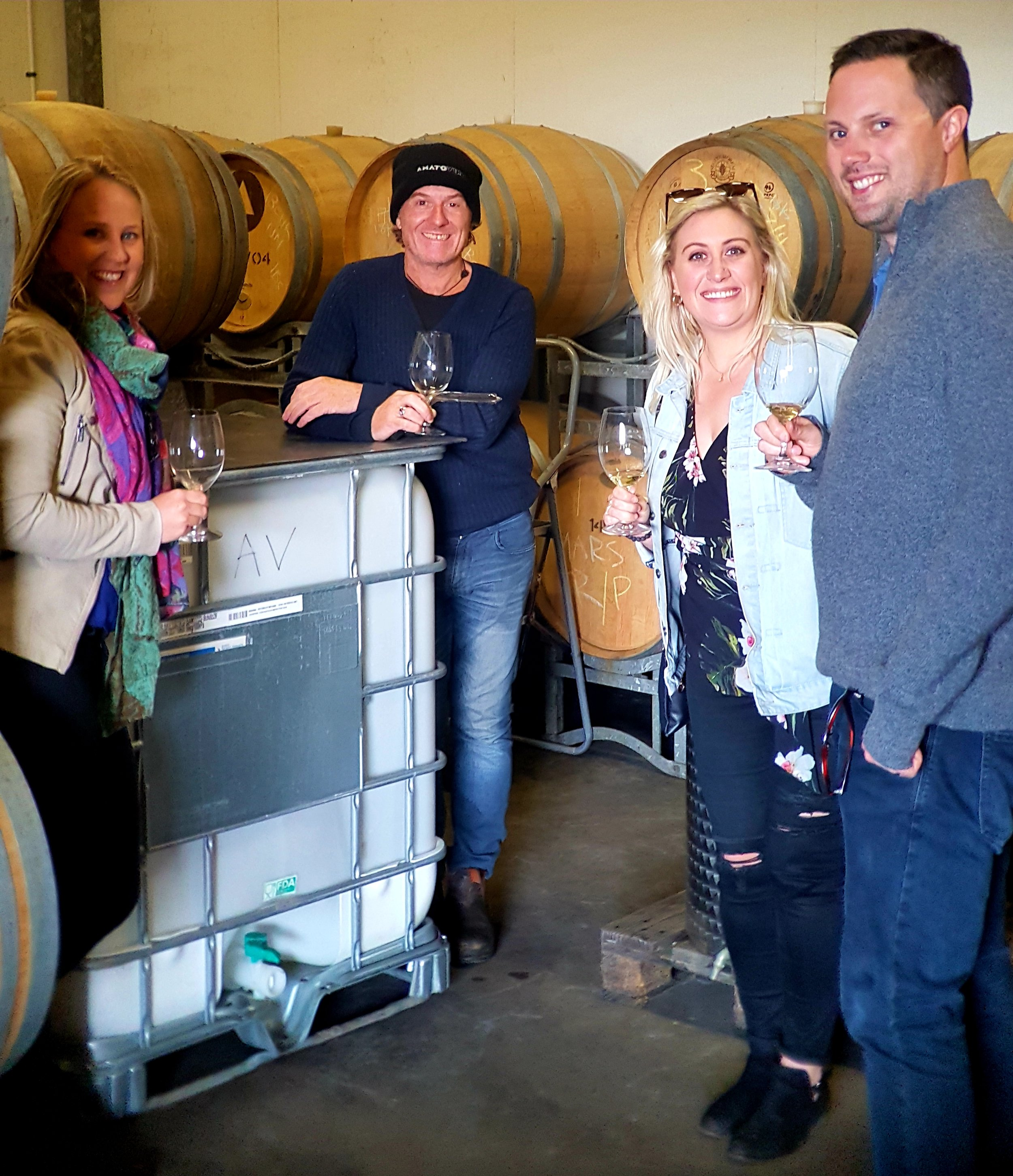 Wine thieving out of barrel with owner/winemaker Brad Wehr of  AMATO VINO  wines!