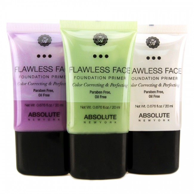 ABSOLUTE NEW YORK- FLAWLESS FACE FOUNDATION PRIMER - Summer heat and oily skin aren't a good combination! This is why I always make sure to prime my face with Absolute New York- flawless face foundation primer. This primer is very silky yet oil-free and has a green tint to cover redness and blemishes. Great dupe for Smashbox color primer!