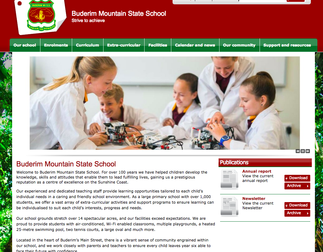 Buderim Mountain State School website copy