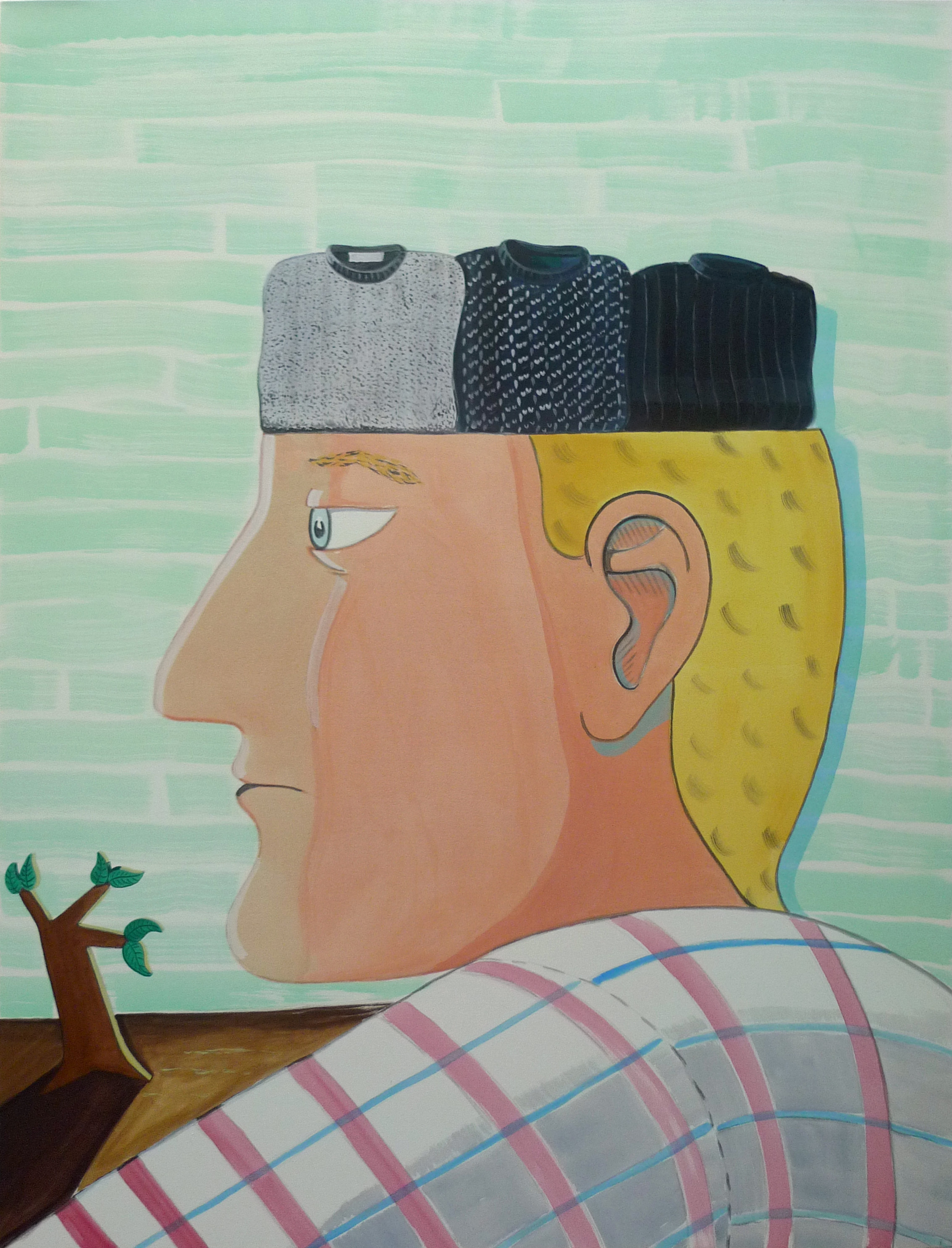 Knitted Thoughts  2014 Acrylic on canvas, 179 x 137 cm