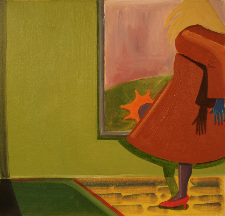 Woman Kneeing a Painting  2010 Oil on canvas, 37 x 38 cm  Private Collection