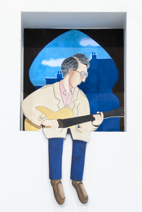 Guitar Player (Sort Of Peter) , 2013  Figure:  Acrylic and gesso on MDF, 100 x 50 cm  Backdrop:  Acrylic  on scenic polyester, 60 x 60 cm