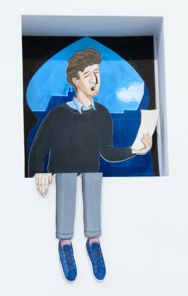 Singer (Sort Of Anthony) , 2013  Figure : Acrylic and gesso on wood, 100 x 50 cm  Backdrop:  Acrylic on scenic polyester, 60 x 60 cm