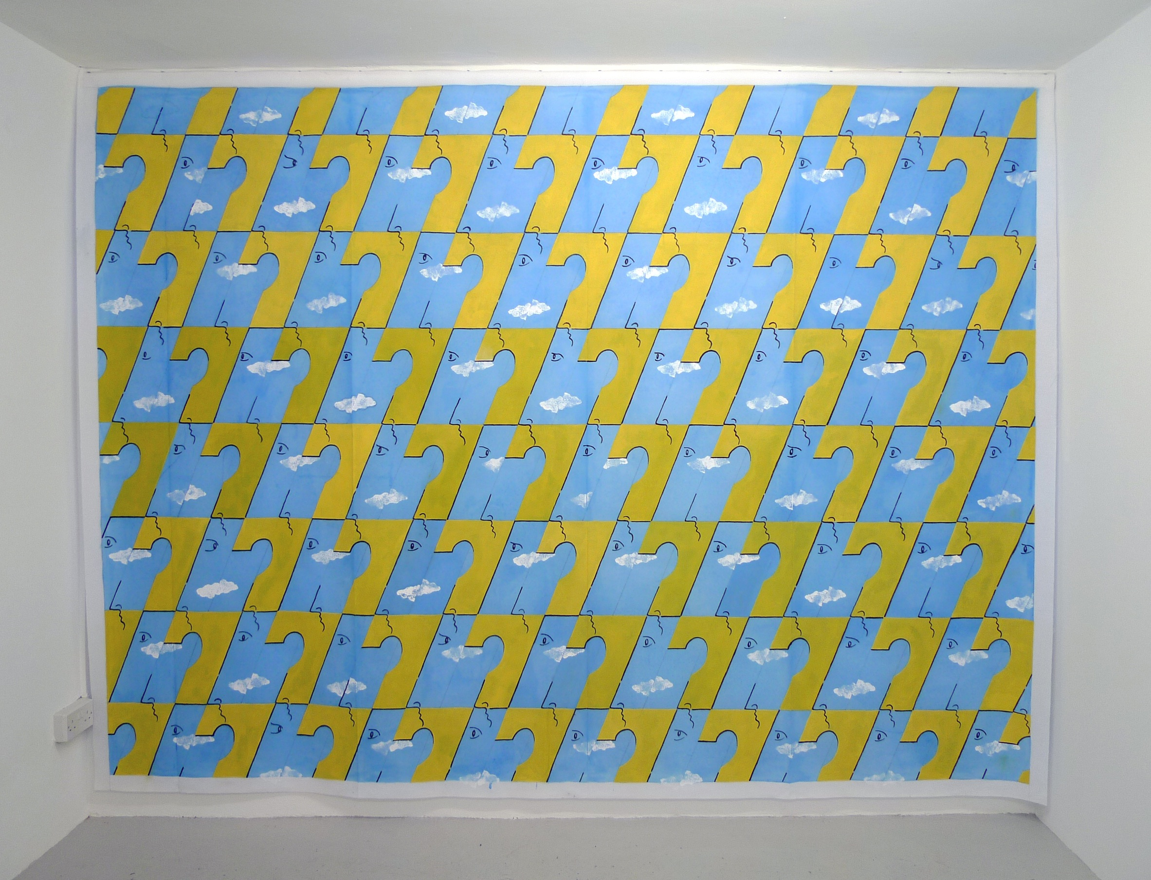 Sky Men Variations  2013 Acrylic on Scenic Polyester, 225 x 298 cm
