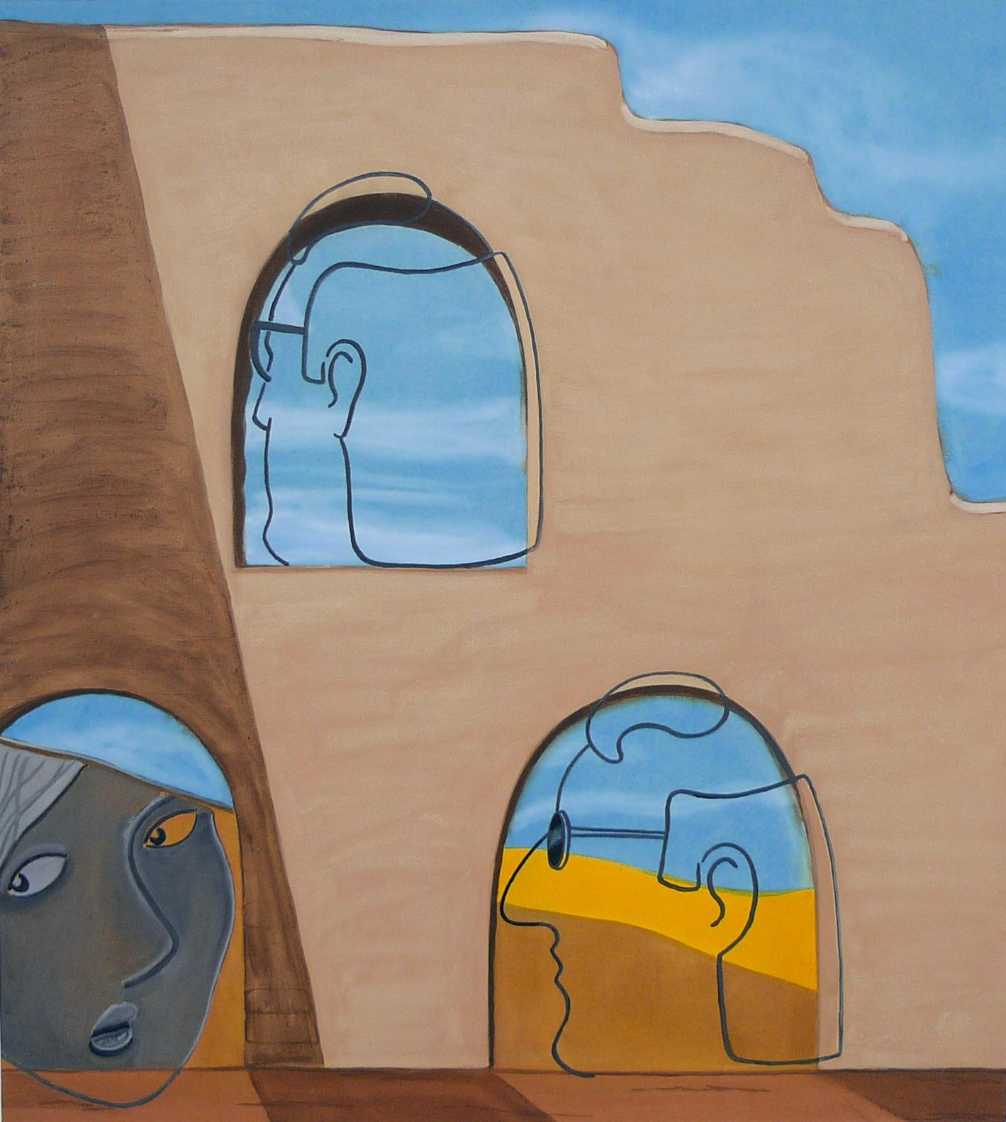 Twins in a Ruin  2013 Acrylic on canvas, 120 x 108 cm