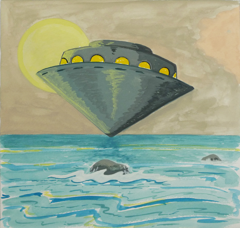 Untitled (UFO)  2016 Gouache on paper, 18 x 19 cm