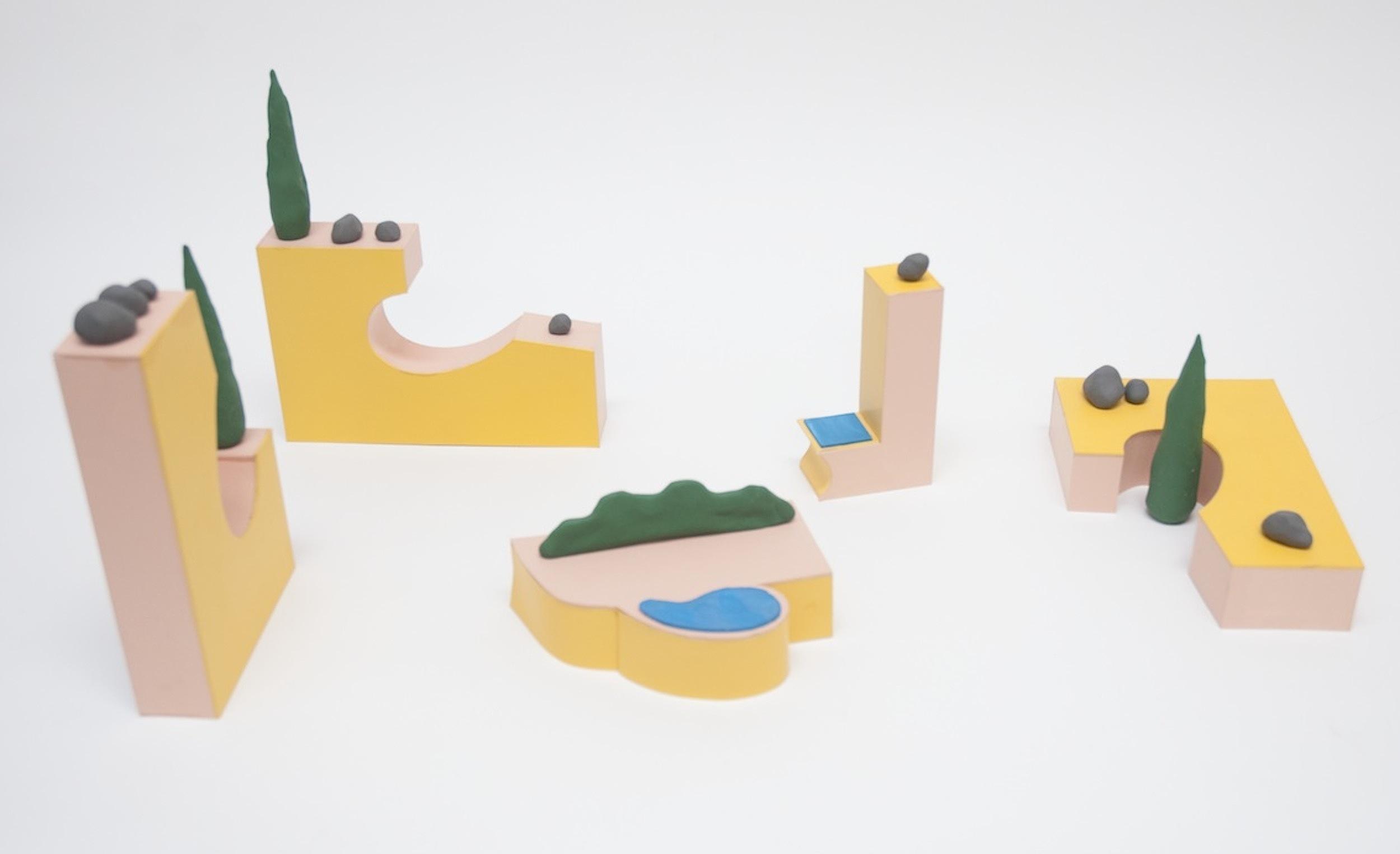 Sculpture arrangement   2016 Card, paint and plasticine, dimensions variable