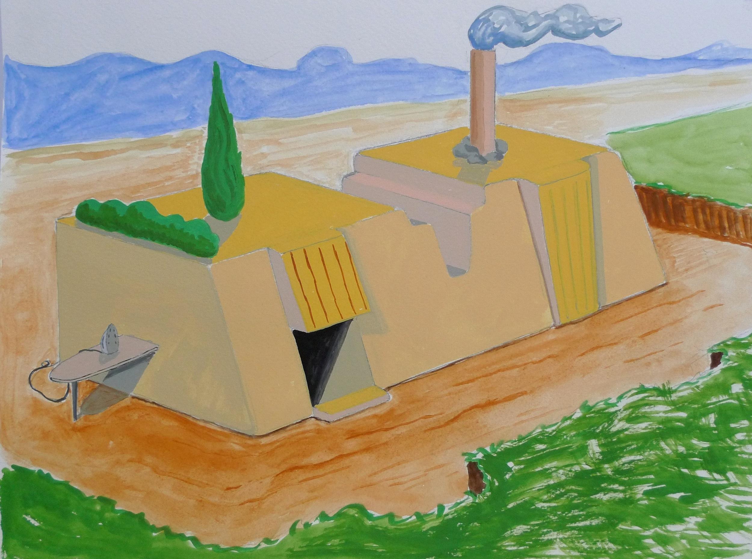 Study for a buliding  2016 Gouache on paper, 24 x 32 cm
