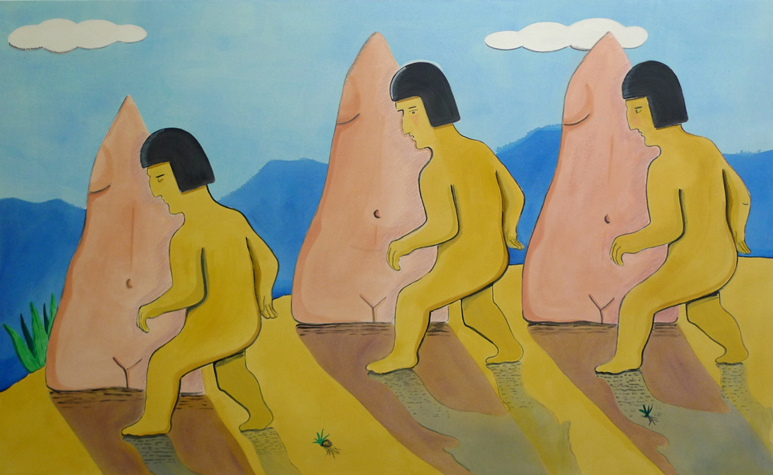 Torsos in the Andes  2014 Acrylic on Canvas, 119 x 193 cm