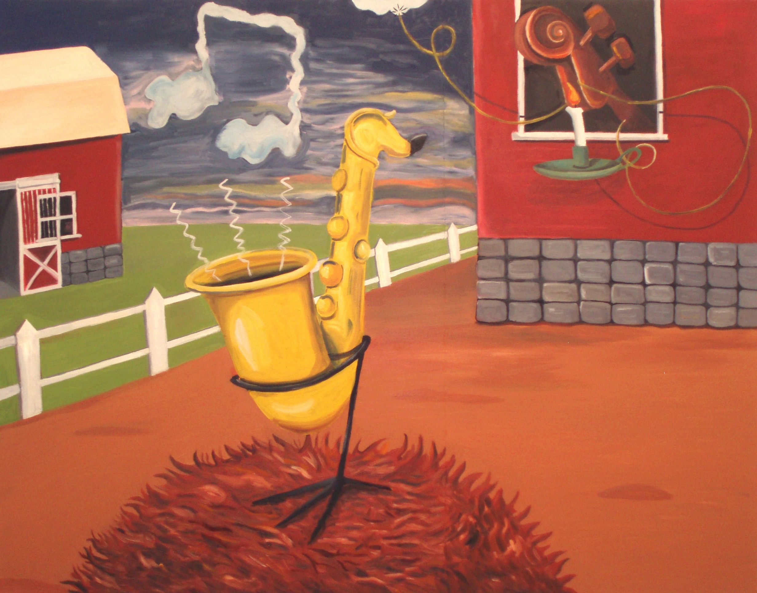 Dawn on Jazz Farm  2008 Oil on Canvas, 105 x 135 cm