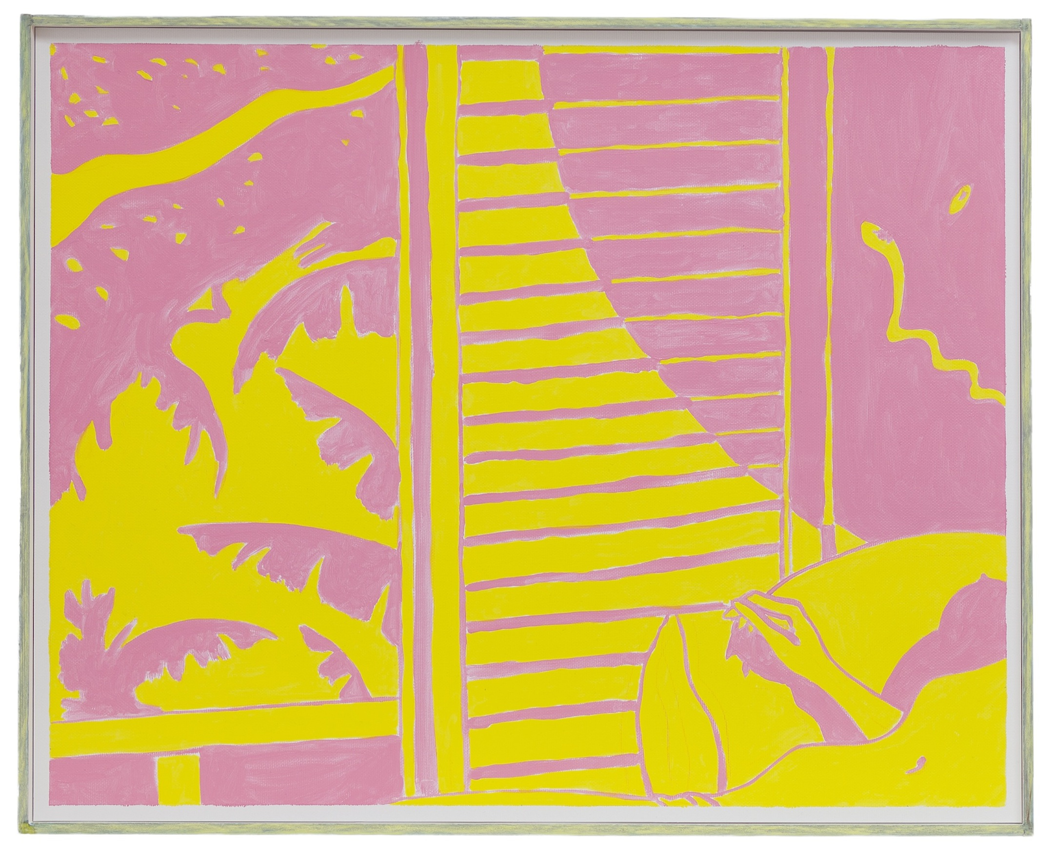 Costal Unrest (Pink & Yellow)  2012 Oil on paper in artist's frame, 41.5 x 51.5 cm