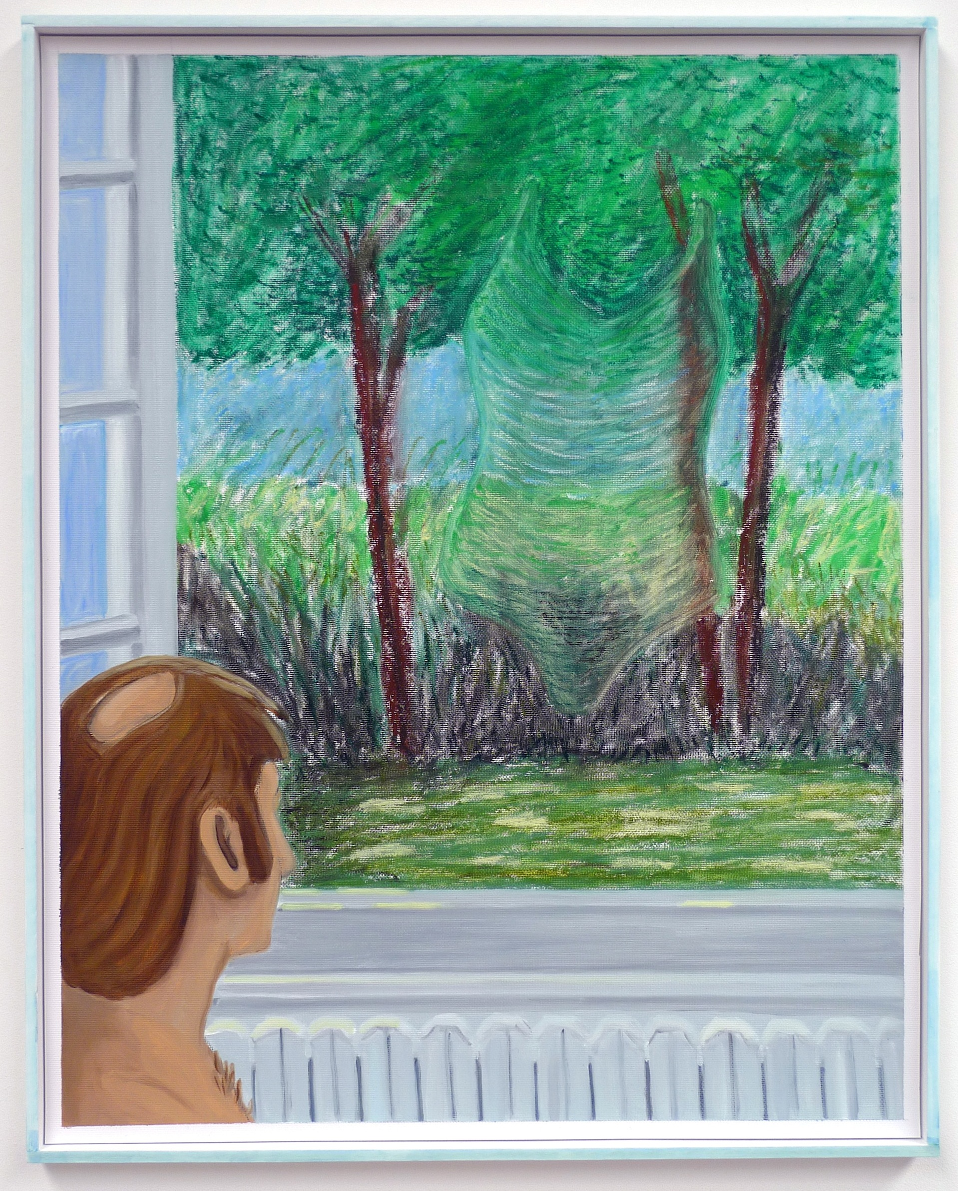 Stephen Stills Visited by the Memory of his Ex-wife  2012 Oil and oil pastel on paper in artist's frame, 51.5 x 41.5 cm