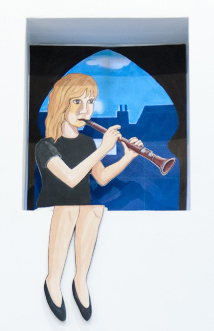 Clarinet Player (Sort Of Dagmar) , 2013  Figure:  Acrylic and gesso on wood, 100 x 50 cm  Backdrop:  Acrylic on scenic polyester, 60 x 60 cm